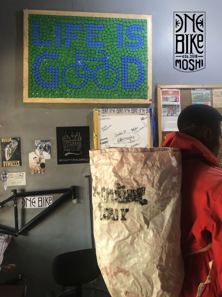 recycling at one bike shop